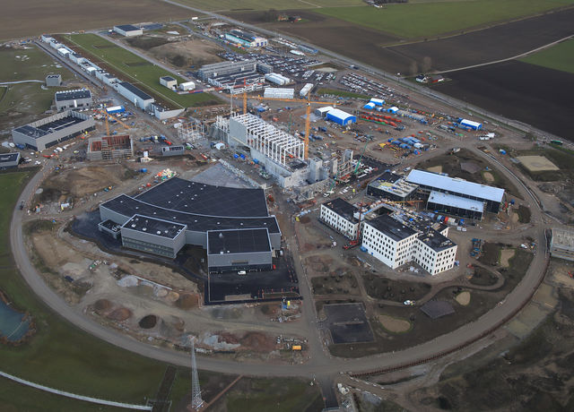 Aerial view of the ESS construction site in Autumn 2019